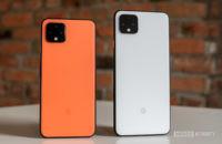Google Pixel 4 vs Pixel 4 XL in orange and white