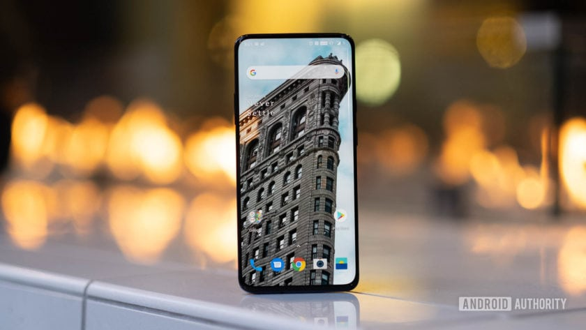 OnePlus 7 Pro screen in front of fire