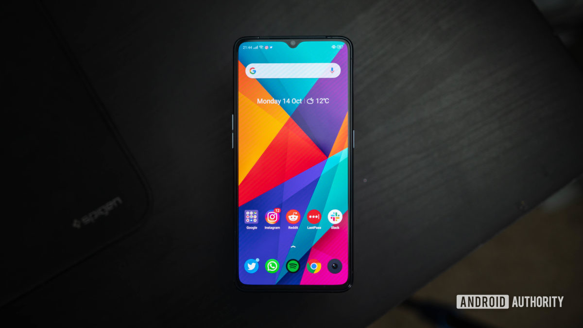 Realme X2 Pro front display view of home screen top down
