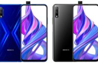 Honor 9X Pro side-by-side in blue and black.