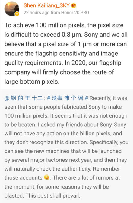 An Honor executive says bigger pixels are the way to go in 2020.