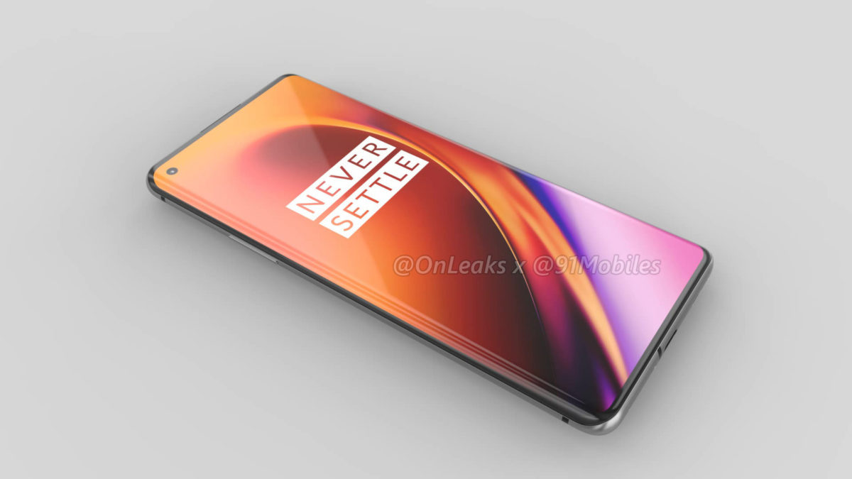 oneplus 8 pro render by onleaks showing punch hole display