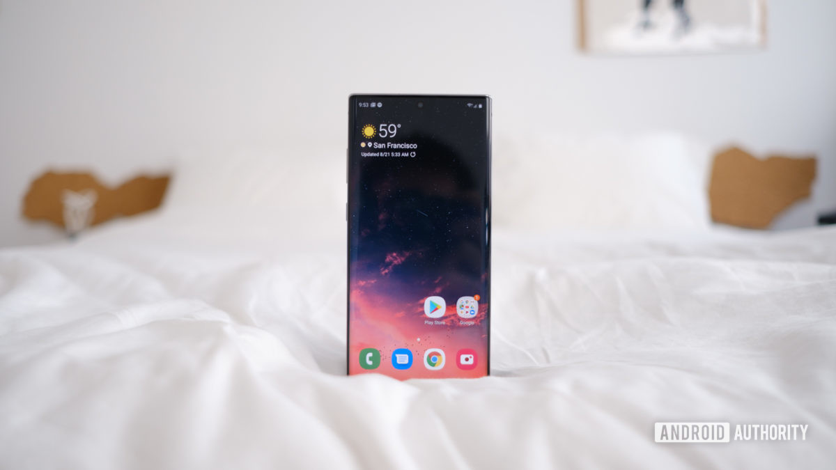 Samsung Galaxy Note 10 Plus screen upright on bed