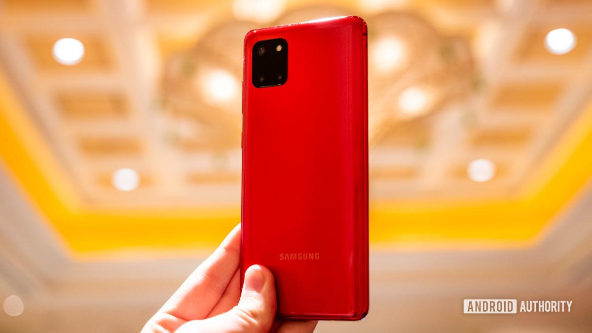 Samsung Galaxy Note 10 Lite back in hand