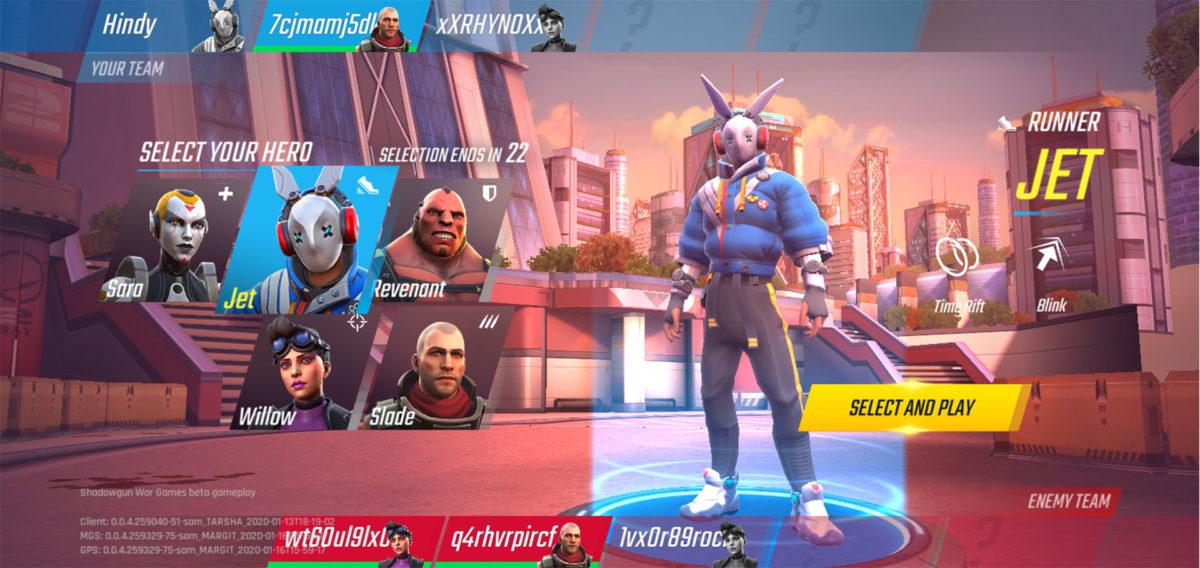 Shadowgun War Games hero select