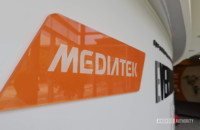 The MediaTek logo at the company's Hsinchu HQ.